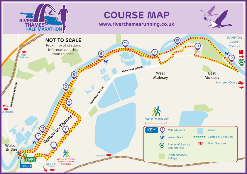 River Thames Half Marathon Course Map